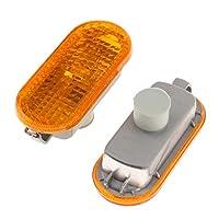 KESOTO ターンシグナルバルブ サイドランプ 2個入り 点滅 VWシリーズ用 交換用品 インジケータライト - 黄