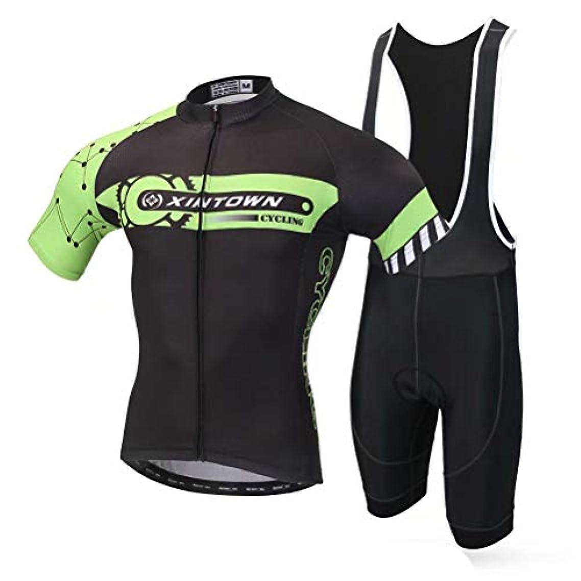 挑むオン同種のTenflow サイクルジャージ メンズ ビブ付き 半袖 上下セット 吸汗 速乾 自転車ウェア スポーツウェア パッド付き xhyd-bddx-bd