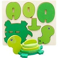 HuaQingPiJu-JP 創造的な木製の3D動物のパズルアーリーラーニングの数の形の色の動物のおもちゃキッズのための素晴らしいギフト(タートル)