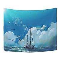 ヨットin the Sea Summer Sky with Big Cloudsポリエステルホームインテリアタペストリー壁Hangingsサイズフルリビングルーム装飾 60x40