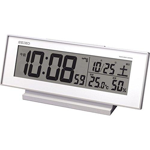 セイコー 温・湿度表示付電波目覚時計 【電波時計 角度調整 ...