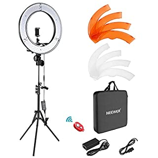 Neewer Camera Photo Video Light Kit: 18 Inches/48 Centimeters Outer 55W 5500K Dimmable LED Ring Light, Light Stand, Receiver for Smartphone, YouTube, Vine Self-Portrait Video Shooting (B07TRLFX9C) | Amazon price tracker / tracking, Amazon price history charts, Amazon price watches, Amazon price drop alerts