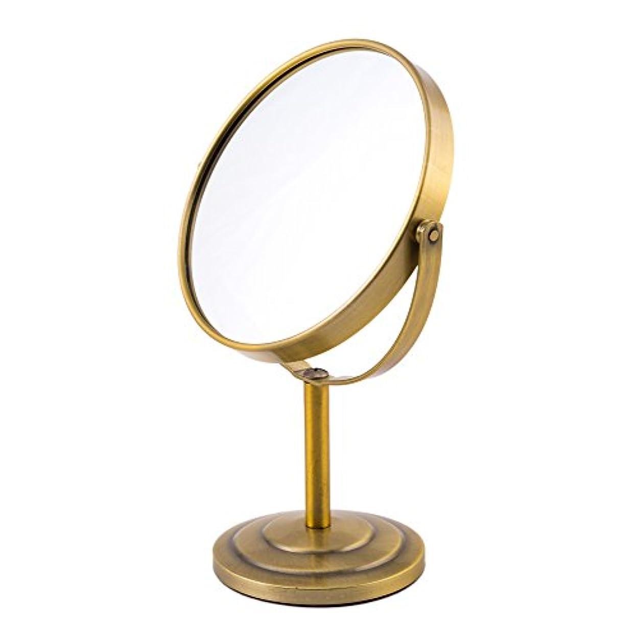 予備オリエンタル王子ARTRA シンプルデザイン 真実の両面鏡DX 5倍拡大鏡 360度回転 卓上鏡 スタンドミラー メイク 化粧道具 赤銅色