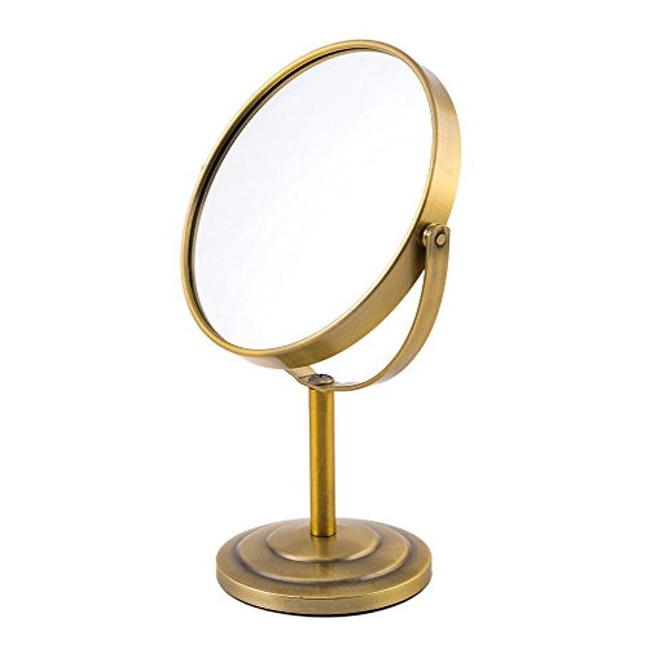 テレビ局逸脱誠意ARTRA シンプルデザイン 真実の両面鏡DX 5倍拡大鏡 360度回転 卓上鏡 スタンドミラー メイク 化粧道具 赤銅色