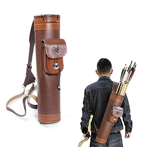 Obert 矢筒 アーチェリー用品 おしゃれ レザー 矢ホルダー アローケース 矢入れ 弓道具 バック 狩猟 調節可能 ポケット付き