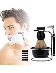 ひげブラシ メンズ シェービングブラシセット シェービングセット 5点セット 天然木 高級 高品質 爽快な剃り心地 替刃5枚付 髭剃り 泡立ち 洗顔ブラシ ブラック ブラシアクセサリー