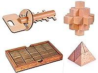 Zyary (TM) 大人子供子供のための4PCS / LOTクラシック木製パズルIQマインド頭の体操パズルゲームおもちゃ