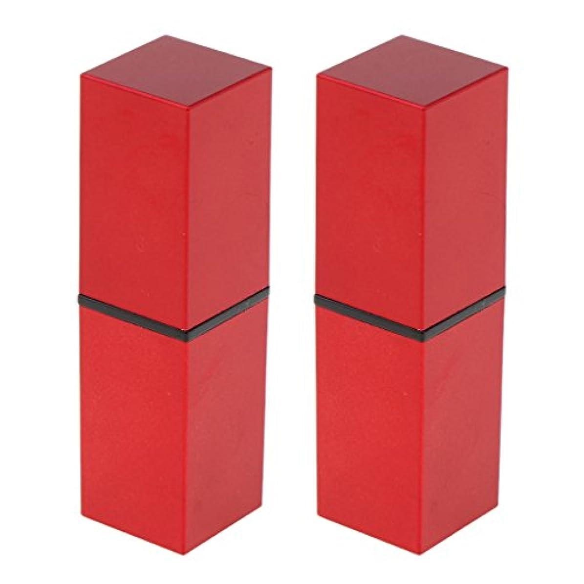 長さやろう可愛いFenteer 2本 リップスティック 口紅 DIY 空チューブ 収納コンテナ リップバーム 12.1MM 口紅チューブ 手作り 全4色 - 赤