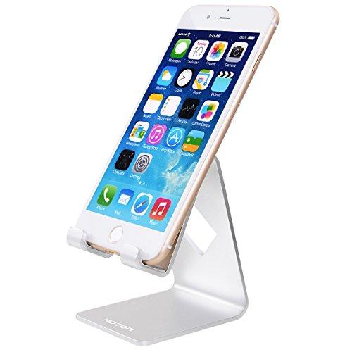 スマホ スタンド,HOTOR スマホホルダー iPhone&Android などほとんどのスマートフォン 対応 シンプルで実用 充電スタンド (シルバー)
