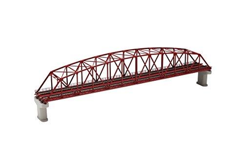 TOMIX Nゲージ 3221 複線曲弦大トラス鉄橋 (F) (赤) (複線PC橋脚・2本付)