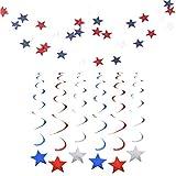星型バナーガーランド 2点 吊り下げスワールデコレーション 星条旗 吊り下げ天井装飾 独立記念日 愛国的なパーティー装飾 レッド ブルー ホワイト