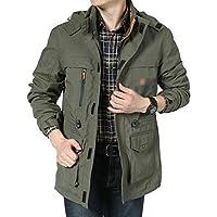 メンズジャケット春と秋の大きいサイズメンズジャケット単層長い屋外防風防水登山スーツ (Color : Green, Size : L)
