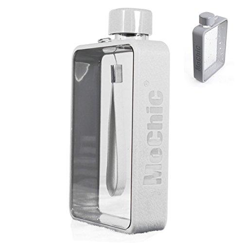 siariz(シアリズ) ノート型 水筒 ウォーターボトル スポーツボトル アウトドア 透明(グレー 380ML)