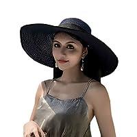 ZumZup 帽子 かんかん帽 麦わら帽子 ハット ストローハット 細編み帽子 折りたたみ リボン 日除け UVカット 中折れ 可愛い 小顔効果 つば広 フリーサイズ 23色 夏