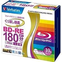 (まとめ) バーベイタム 録画用BD-RE 25GB 2倍速 ワイドプリンターブル 5mmスリムケース VBE130NP10V1 1パック(10枚) 【×3セット】