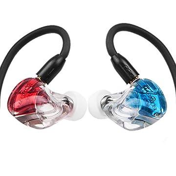 magaosi k5 イヤホン イヤモニ型イヤホン+Bluetoothケーブル カナル型 イヤホン・ヘッドホン 高音質 mmcx リケーブル イヤホン Yinyoo (レッド&ブルー)