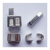 2セット#8メタルジッパーヘッドボックスジッパースライダーリテーナー挿入ピンが簡単にジッパー修理、ジッパー修理キット (銀)