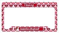 Carolines Treasures LH9138LPF Australian Shepherd Valentines Love And Hearts License Plate Frame
