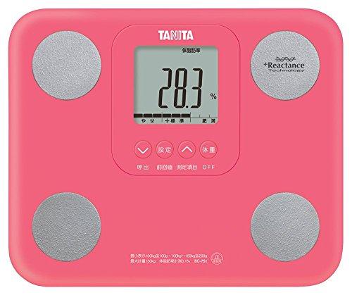 タニタ 体組成計 BC-751-PK(ピンク) 体内年齢表示/筋肉量測定/A4サイズ・880gの小型軽量モデル