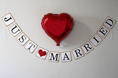 【 MOMO wedding 】 ウエディング ガーランド [ JUST MARRIED + ハートプレート ] + ハート バルーン セット 結婚式 二次会 撮影に! (カントリーセット)