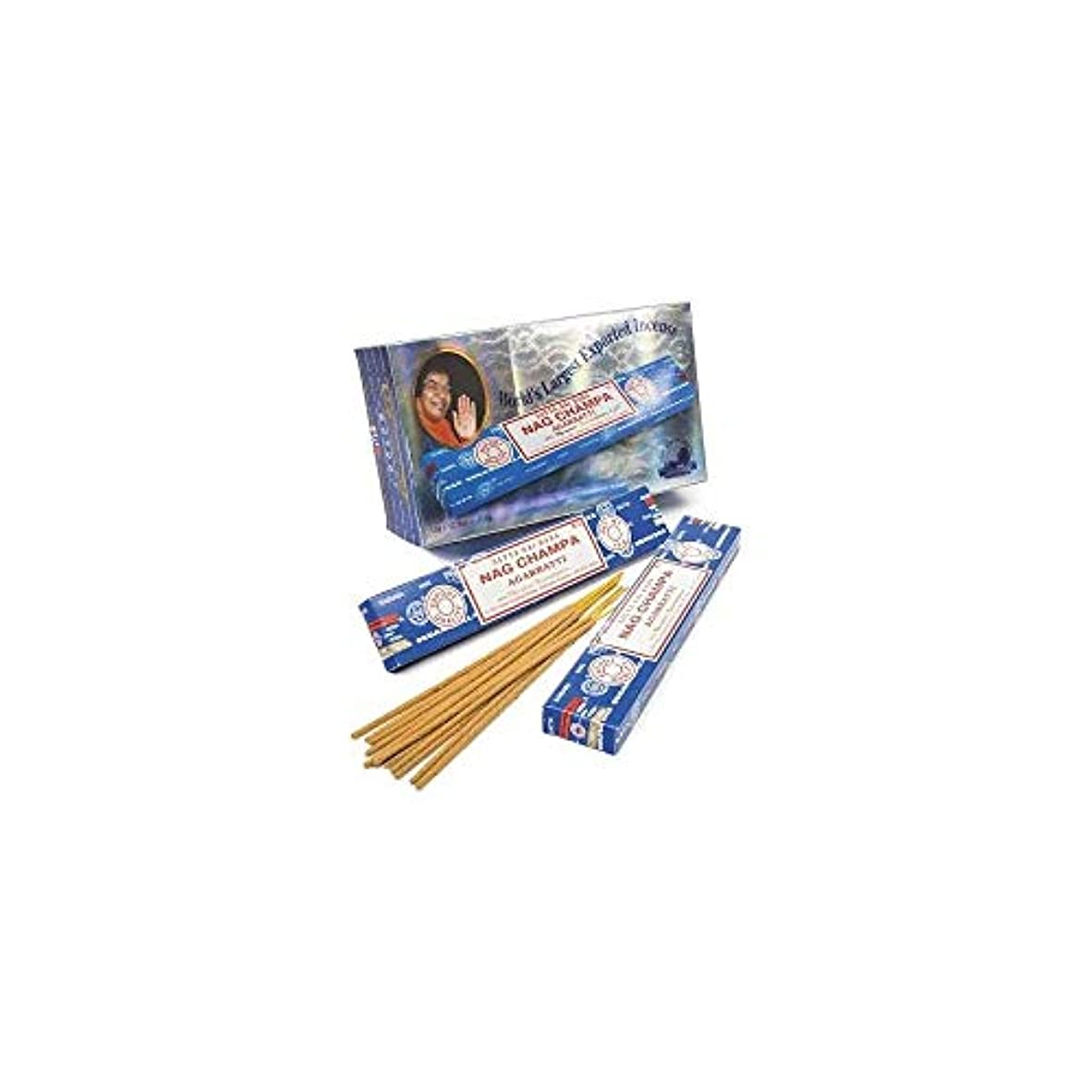 気づくささやき印刷するBox Of 12 Packs Of 15g Nag Champa Incense Sticks By Satya