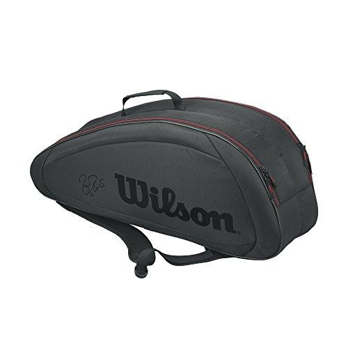 Wilson(ウイルソン) テニスラケットバッグ FEDERER TEAM 6PACK (フェデラー チーム 6パック) ブラック×レッド 6本収納可能 WRZ833706