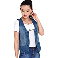 Kedera Women's Stretchy V-Neck Button Up Unlined Denim Waistcoat Vest
