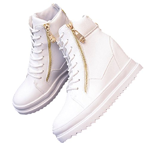 [해외]Npoca 하이 컷 통굽 운동화 여성 힐 골드 지퍼/Npoca High Cut Thick Bottom Sneaker Ladies Inherge Gold Zipper