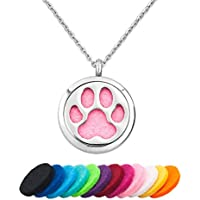 LilyJewelry Pet Dog Cat Paw Print Aromatherapy Essential Oil Diffuser Necklace Pendant Stainless Steel Locket Necklace with 12 Refill Pads