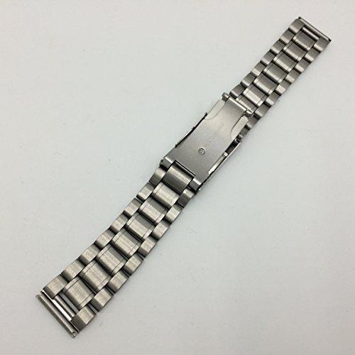 3連 ステンレス 無垢 サイドプッシュ式 腕時計 交換 ベルト 時計バンド バネ棒 付 (3、直カン 20mm)