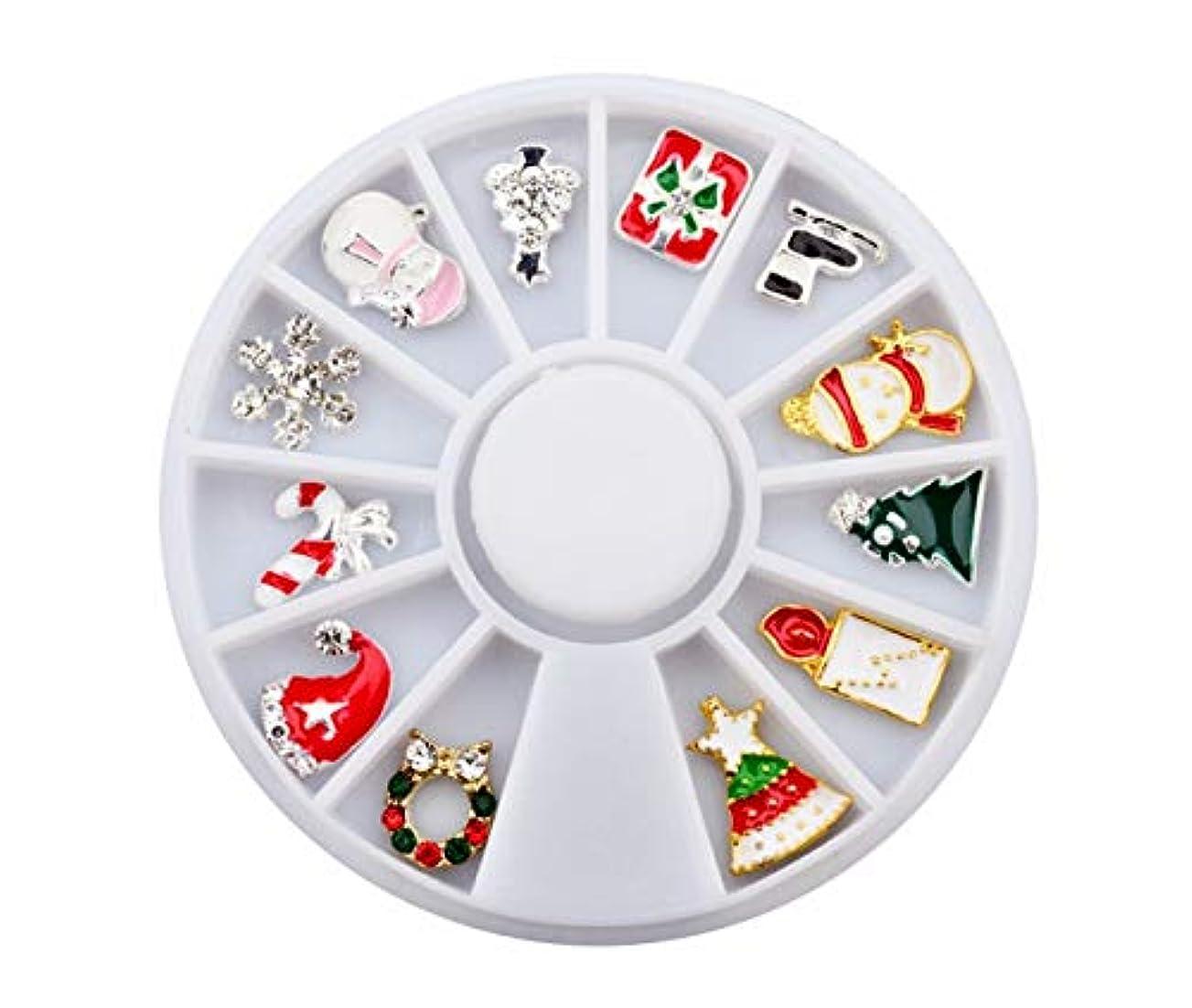 一族戻る潜在的なTianmey クリスマスフェイク釘金属の3DダイヤモンドDIYネイルアートクリスマスの装飾ホリデー付け爪グリッターラインストーンネイル用品ジュエリー