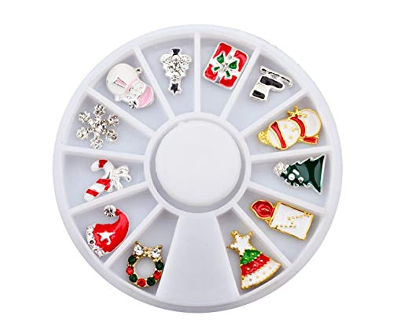 くつろぎ選択する役立つTianmey クリスマスフェイク釘金属の3DダイヤモンドDIYネイルアートクリスマスの装飾ホリデー付け爪グリッターラインストーンネイル用品ジュエリー