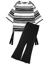 [もうほうきょう] レディース ワイドパンツ Tシャツ パンツセット ストライプ 夏 春秋 二点セット 上下セット 新型 カジュアル ゆったり ファッション