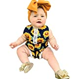 洋子ちゃん 新生児 夏服 ノースリーブひまわり 花柄 プリント レース ワンピース ホルター 女の子 おしゃれ ワンピース ロンパース+ヘッドバンド 2点セット ジャンプスーツ かわいい 肌着 70 80 90 100 3-24か月