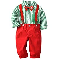 ZOEREA Baby Boy Outfits Set, 3pcs Long Sleeves Gentleman Jumpsuit & Vest Coat & Berets Hat with Bow Tie (2-3 Toddler, Red)