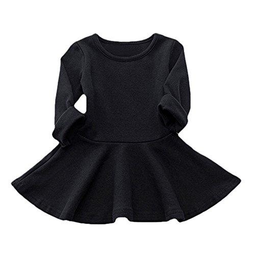 Karchi 子供服 ワンピース 綿製 ドレス裾 長袖 ゆったり 丸ネック字母柄 暖かい色 ファショ...