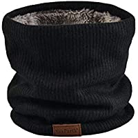 NovForth Neck Warmer Double-Layer Fleece Lining Knit Winter Infinity Scarf Chunky Thick Windproof Circle Loop Scarves Black