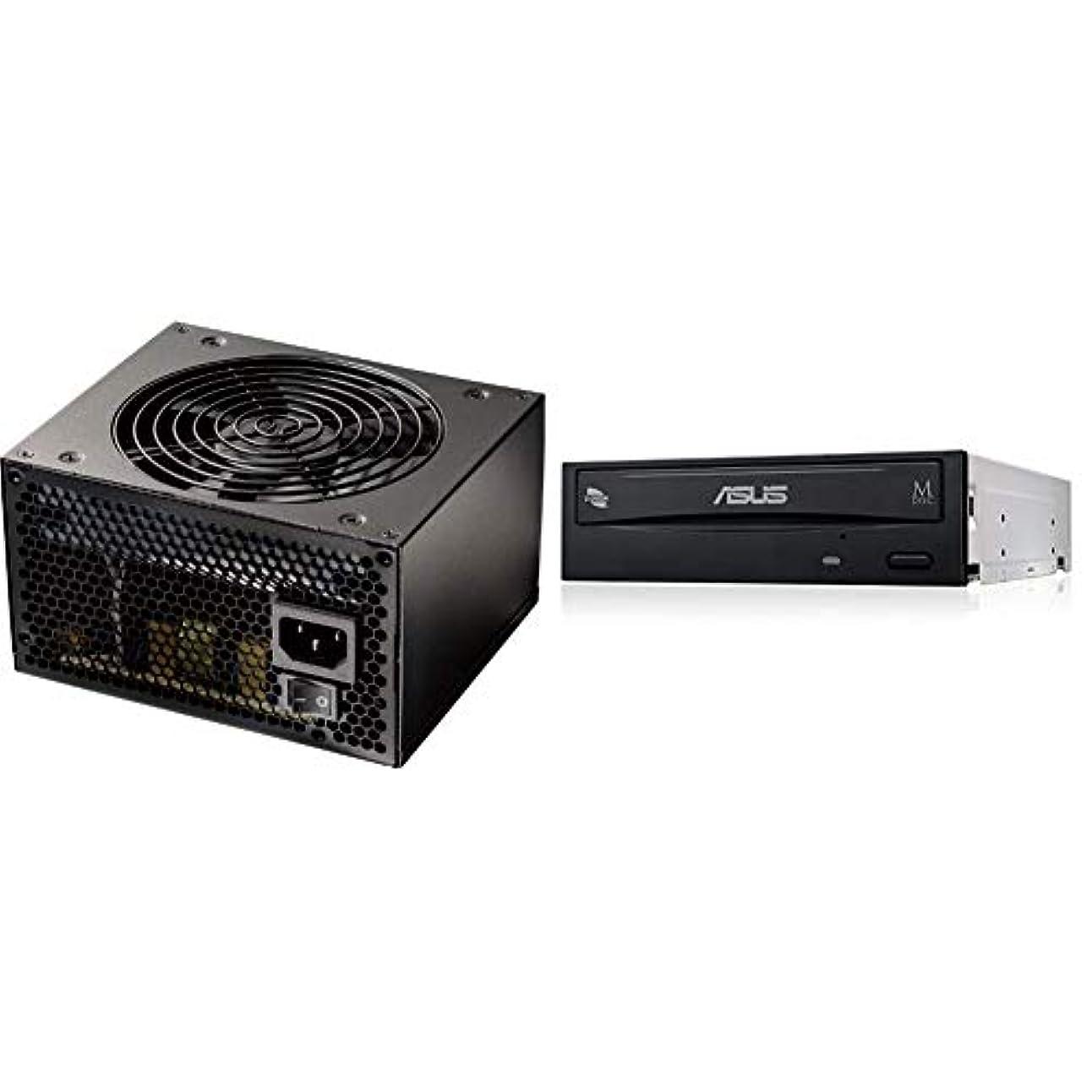 裁判所歩行者お客様玄人志向 NEXTシリーズ 80 PLUS Bronze 500W ATX電源 KRPW-N500W/85+ & Asus Windows10対応 M-DISC対応 最大24倍速書込 SATA接続 DVD/CDライティングソフト付き DRW-24D5MT