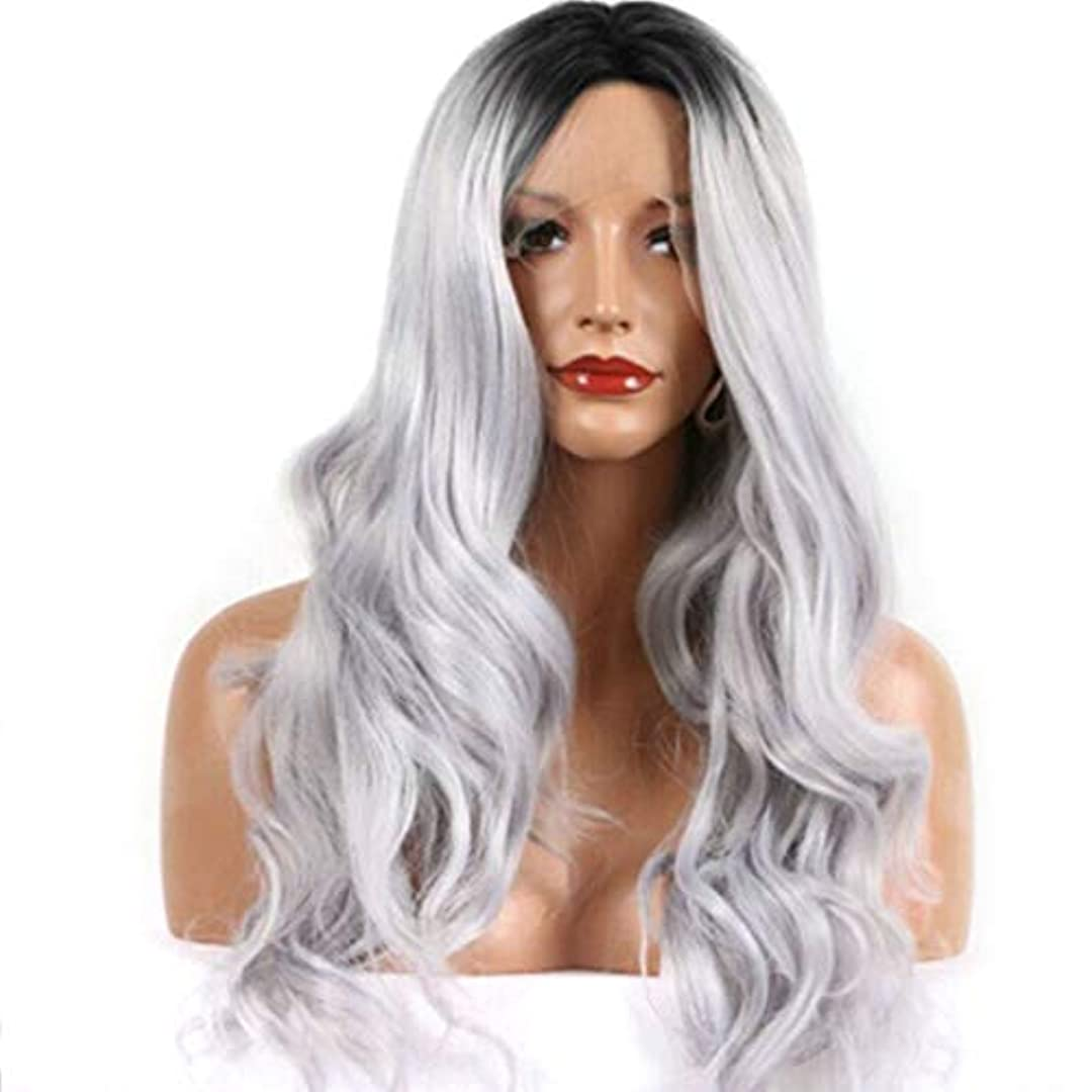 Fuku つけ毛 女性の女の子のための長い巻き毛の波状のかつらオンブル髪黒耐熱繊維かつらコスプレパーティー (色 : 写真の通り)