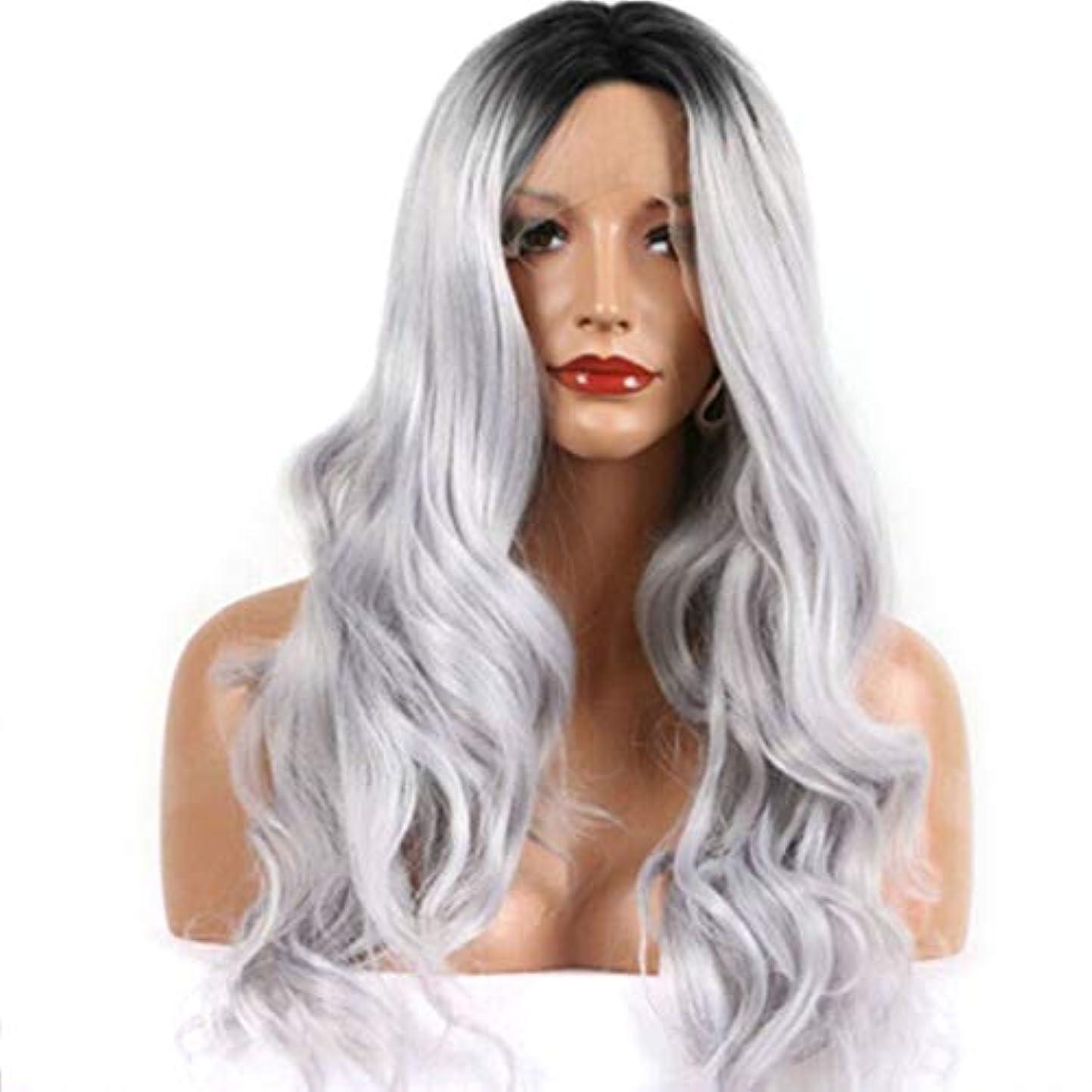 容赦ない過剰スポンジFuku つけ毛 女性の女の子のための長い巻き毛の波状のかつらオンブル髪黒耐熱繊維かつらコスプレパーティー (色 : 写真の通り)