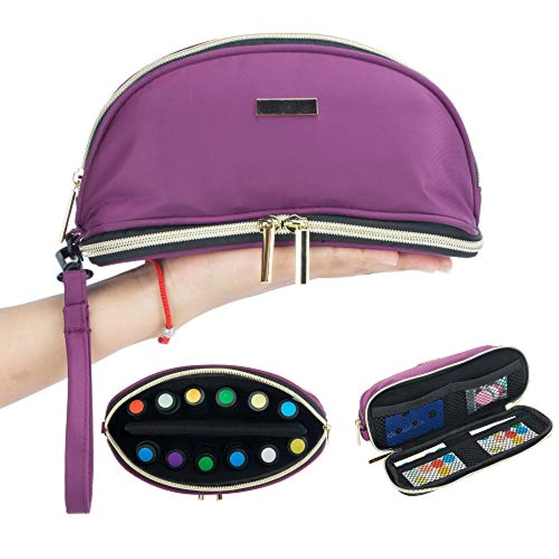 八百屋さん時間重要性[Pacmaxi]エッセンシャルオイル 収納ポーチ 携帯便利 旅行 12本収納(5ml - 15ml) ナイロン製 撥水加工 ストラップあり (12本用パープル)