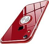 iPhone XR ケース リング 透明 耐衝撃 全面保護 磁気カーマウントホルダー スタンド 柔らかい殻 ケース 車載ホルダー対応 薄型 軽量 充電対応 TPU 滑り防止 黄変防止 簡潔なファッション 高級なカーボン風