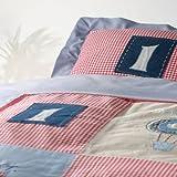 MARGARET MUIR ベビーカバーリング3点セット(掛け布団カバー・ピローケース・フィットシーツ) 刺繍 綿100% (Blue sky)