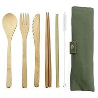 竹製カトラリーフラットウェアセット 竹製トラベル用品、再利用可能なナイフフォークスプーン、箸用ストロー (アーミーグリーン)