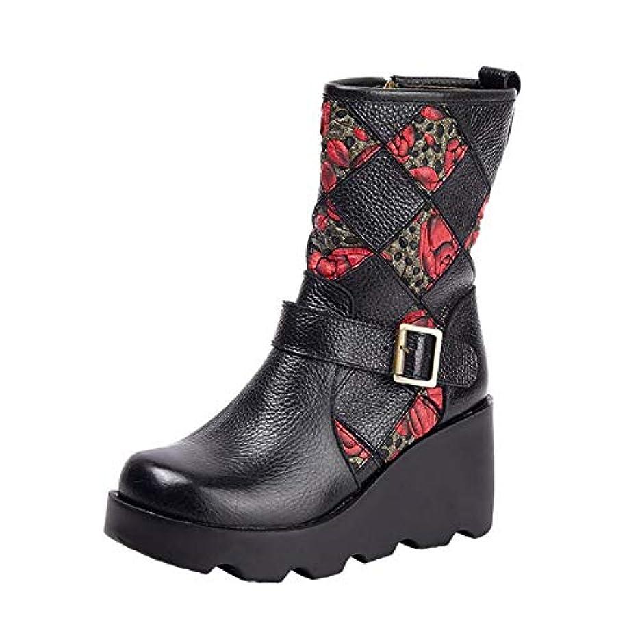 あたたかい敬礼ソース女性の靴、2018秋冬レトロブーツ手作りの足首のブーツ暖かい靴、レディースエスニックスタイルの厚いボトムウェッジレザーブーツ (色 : A, サイズ : 36)