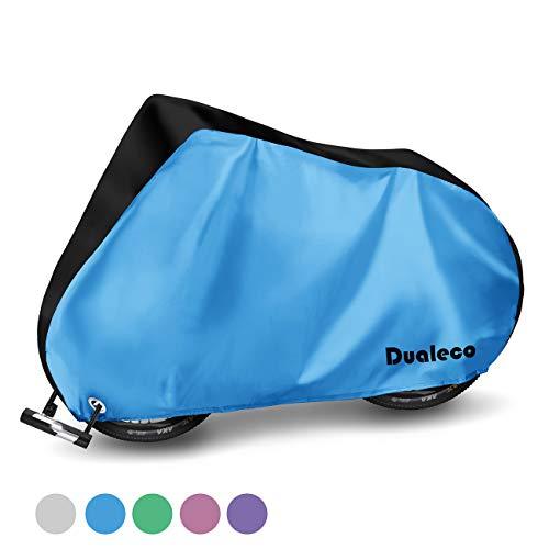 Dualeco 自転車カバー 子供用 キッズ サイクルカバー 防水 厚手 丈夫 撥水加工UVカット防犯 防風 収納袋付 破れにくい 20インチまで対応 (ブラック&ブルー)