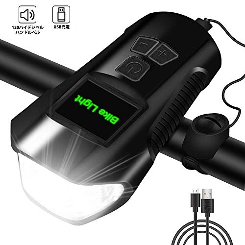 自転車ライト 自転車ヘッドライト USB充電式 ロードバイクライト 明るい 1200ルーメン 高輝度 IPX5防水防振 クラクションが付く 4モード点灯 小型 懐中電灯兼用 防災 登山 夜釣り