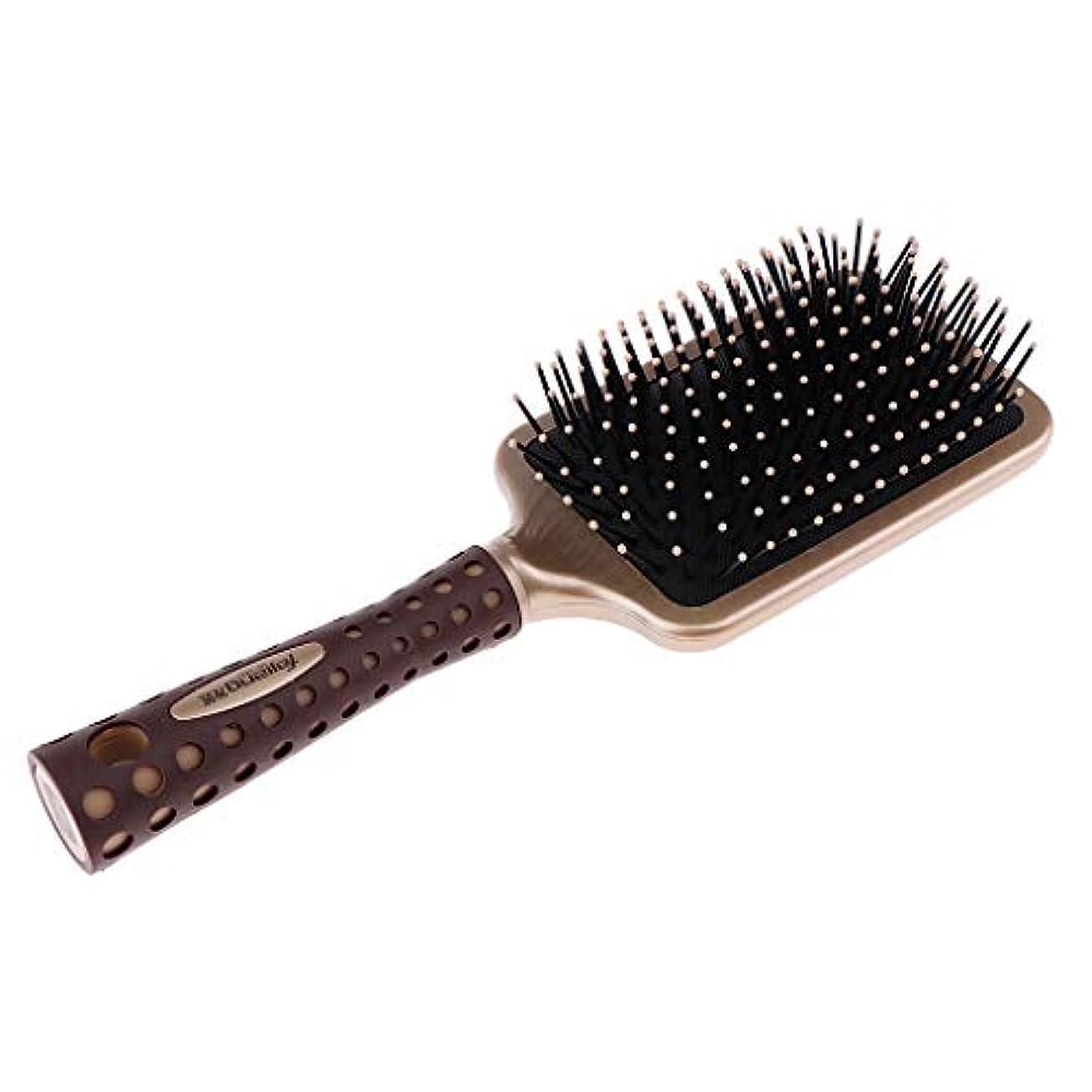 不一致遊具撤回する静電防止櫛 クッションヘアブラシ 頭皮マッサージ プロ ヘアーサロン 美容師 2サイズ選べ - L