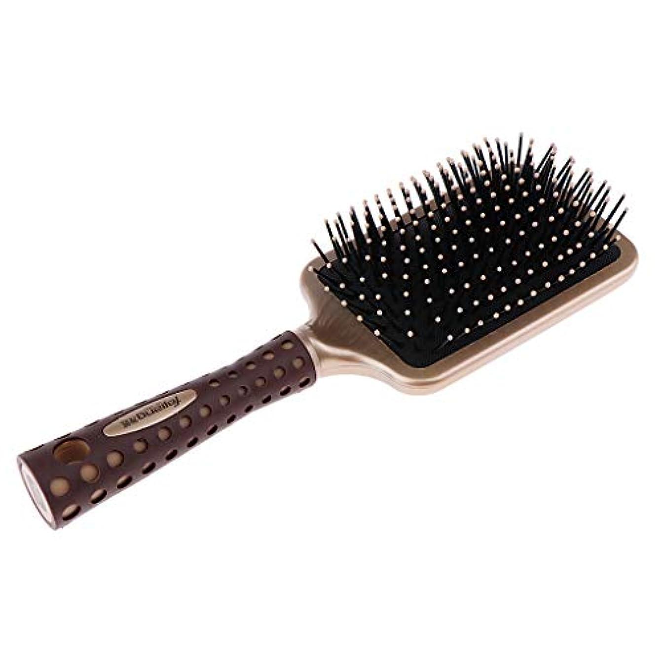 脊椎宿程度静電防止櫛 クッションヘアブラシ 頭皮マッサージ プロ ヘアーサロン 美容師 2サイズ選べ - L