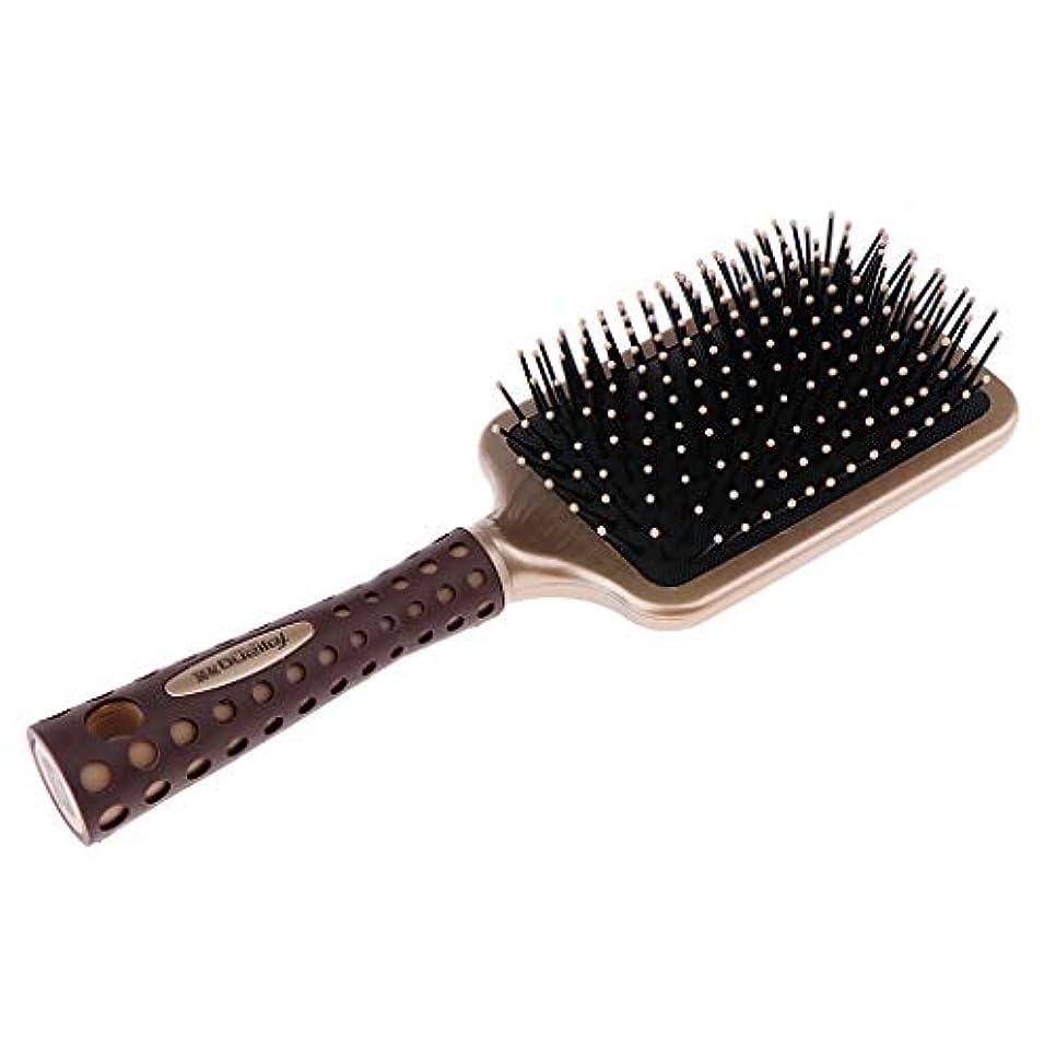 波ファランクスの間に静電防止櫛 クッションヘアブラシ 頭皮マッサージ プロ ヘアーサロン 美容師 2サイズ選べ - L